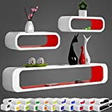 WOLTU 3er Set Wandregal Cube CD/DVD Regal Bücherregal Oval Form Regalsysteme, Buch Lounge Retro Hängeregal RG9230nrt, Weiß-Rot
