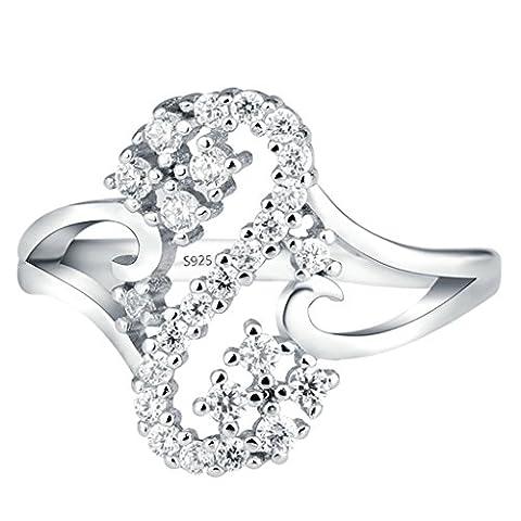 Bishilin S925 Sterling Silber Alphabet Buchstaben S Circular Mit Lab Erstellt Diamant Damen Ring Band Größe 56 (17.8)