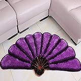LongYu Alfombra alfombrada de Lujo Estilo Pastoral 3D Alfombra Multifuncional en Forma de Abanico (Color : Purple, Size : 700MM×1400MM)