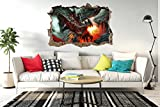Dragon Fire Fantasy Apocalypse Fenster Poster 3D Wandaufkleber Vinyl Decal Mural by Inspired Walls®