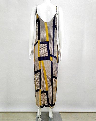 Vestito da Mare Donna Vestiti Lunghi Estivi V-Collo Senza Maniche Bohemian Stampa Maxi Abito dalla Spiaggia 2