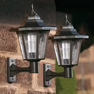 Garden Mile ® Pack Of 2 Solar Lights Garden Outdoor LED Lights Black Victorian Coach Lantern Outdoor Wall Lights, Traditional Solar Lights Garden Lighting by Garden Mile®
