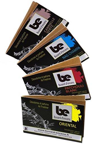 Papel secante incienso-Kit papel secante incienso + cuenco de cristal-4fragancias: pachuli blanco # Oriental # Nag Champa # Canela verde 100{2e594fa70d2f17fb778f96e261966ce559f0b7c480cb2ef2c43ba3ed692c1ecb} francés-caja de 36bandas-désodorise y Parfume