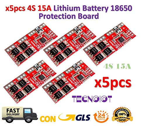TECNOIOT 5pcs 4S 15A Li-ion Lithium Battery 18650 Charger Protection Board 15 Amp 3-bank