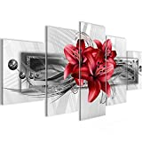 Bilder Blumen Lilien Wandbild Vlies - Leinwand Bild XXL Format Wandbilder Wohnzimmer Wohnung Deko Kunstdrucke Rot 5 Teilig - MADE IN GERMANY - Fertig zum Aufhängen 008752c