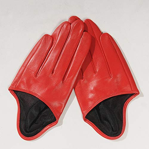 Agelec Damen Lederhandschuhe dünne halbe Palm Frühling und Herbst Spitze Sonnencreme Sommer Schaffell Handschuhe rückenfreie Leder Touchscreen Handschuhe Frauen (Color : Red, Größe : M)