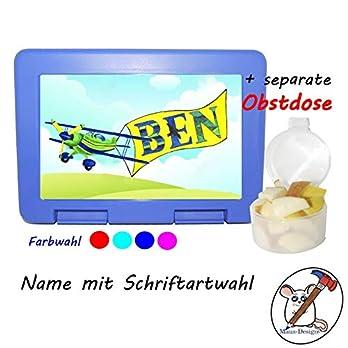 Kinder Brotdose mit Flugzeug Motiv und Name/Farbwahl Brotbox + Schriftwahl für Name
