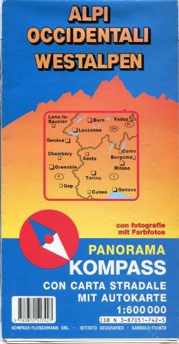 Kompass Panorama - Karte Westalpen, 1:600 000 (rückseitig Straßenkarte), mit Farbfotos, glanzlaminiert, viersprachige Legende Panorama-karte