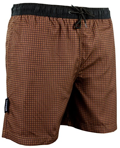 GUGGEN Mountain Maillot de Bain pour Homme de materiau High-Tech Slip Shorts Checked *differentes Couleurs* Colour Marron XL