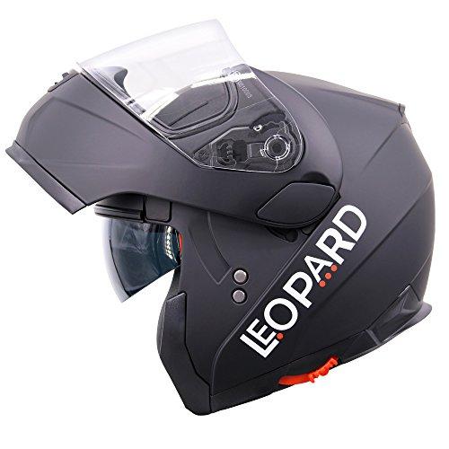 Leopard LEO-838 Cascos Modulares de Moto Motocicleta ECE 22-05 Aprobado Doble Visera - Negro Mate S (55-56cm)
