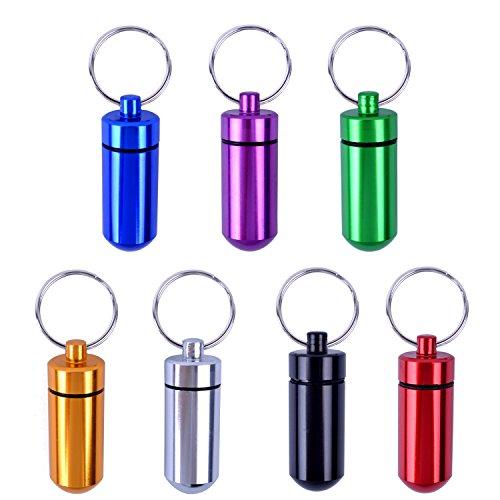 BronaGrand 7er Set Alu Tablettenbox Pillendose Wasserdicht zur Aufbewahrung von Kleinteilen Aufbewahrungsbox Pillenbox als Schlüsselanhänger mit Schraubverschluss (Gummidichtung) 7 Farbig Sortiert