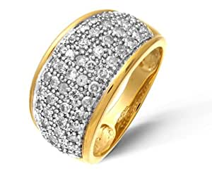 Naava Women's 9 ct Yellow Gold Diamond Multi Row Eternity Ring