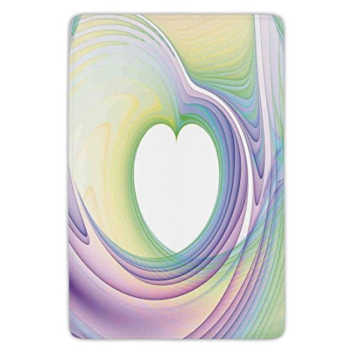 Bathroom Bath Rug Kitchen Floor Mat Carpet,Lime Green,Vibrant Abstract Hazy Psychedelic Wavy Color Background Hippie Digital Artificial Decorative,Emerald,Flannel Microfiber Non-slip Soft Absorbent - Abstract Iris