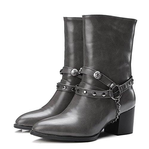 AgooLar Damen PU Mittler Absatz Rein Mitte-Spitze Ziehen auf Stiefel, Grau, 37