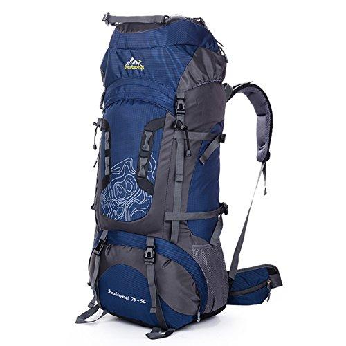 Coopache Zaino Impermeabile trekking 80L da outdoor campeggio escursionismo Patrol camping 78*38*24 CM Copertura della Pioggia (Azul, 80L)