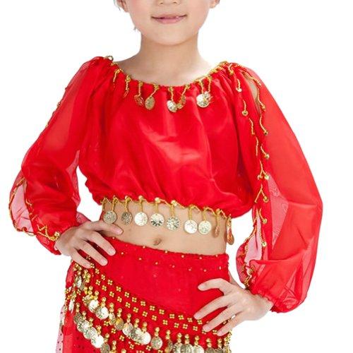 bellylady Tanz- und Karnevalskostüm für Kinder, Set Haremshose und Top Gr. L, Rot (Genie Girl Kostüm)