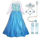 KABETY Mädchen Prinzessin Anna Kleid Schnee königin ELSA Kostüm Party Kleid (4 Jahre, Blau mit Zubehör)