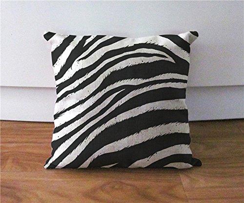 Zebra streifen Kissen Fall Schwarz und Weiß Kissenbezug Euro Sham Kissenbezug Leinen Couch Kissen Fall 45,7x 45,7cm (Schwarz Sham Kissen)
