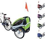 PAPILIOSHOP EAGLE Rimorchio carrello per il trasporto di 1 o 2 bambini in bici (Verde)