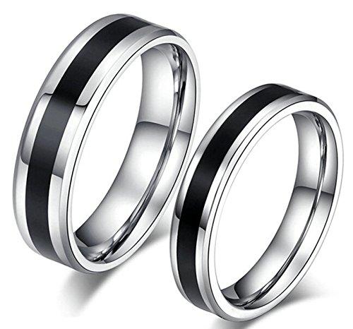 Epinki Herren Ringe, Trauringe Edelstahl Herrenringe Schwarz Silber Schwarz Streifen Ringe Gr.60 (19.1) 6MM