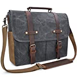 Newhey Mens Laptop Shoulder Canvas Messenger Bag Waterproof Computer Briefcase Notebook Vintage Satchel Designer School Work Bags Grey 15.6 Leather