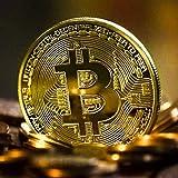 HOUSE CLOUD Moneta Fisica Bitcoin Color Oro . Vero Pezzo da Collezione Porta Fortuna con Custodia, Capsula Protettiva