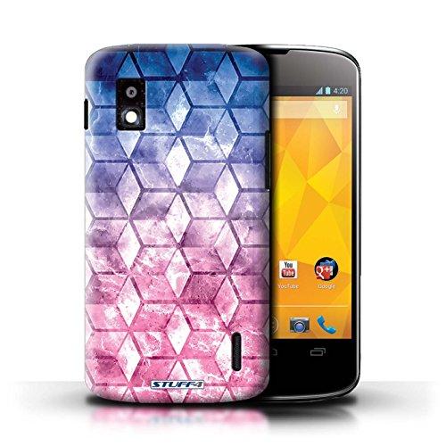 Kobalt® Imprimé Etui / Coque pour LG Nexus 4/E960 / Violet / Orange conception / Série Cubes colorés Bleu/rose
