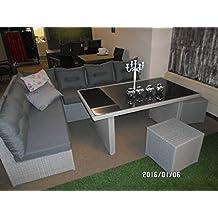 Salón banco rinconera Imitación de Jazz Pebble 5 piezas de alta calidad 2 sofás sin reposabrazos de 2 taburete de 1 mesa con tapa de cristal