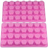 Mujiang 28-cavity emoji émoticône Smiley en silicone Chocolat pâtisserie Candy Moules Rose Lot de 2