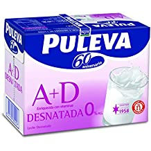 Puleva Leche Desnatada Vitaminas A+D - Pack 6 x 1000 ml - Total: