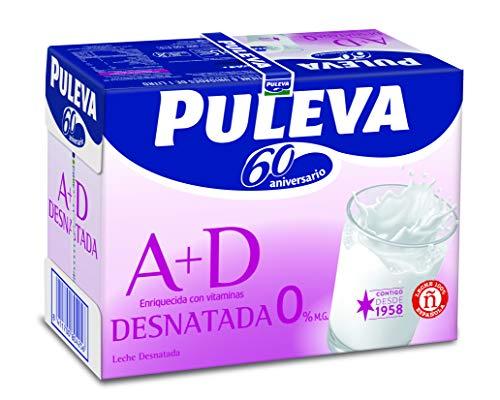 Puleva Leche Desnatada Vitaminas A+D - Pack 6 x 1000 ml - Total: 6000 ml