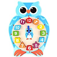 Anglewolf Wooden Shape Sorting Clock / With 12 Numbers And Shapes Blocks Puzzle Beading Match Child Early Educational Toy Gifts (Blue)