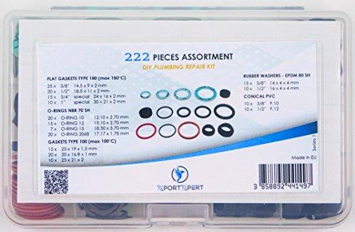 Flachdichtungen Typ 180, O-Ringe NBR 70SH, Dichtungen Typ 100, Gummi Unterlegscheiben–EPDM 80Sh, konischen PVC (222Stück Sortiment) DIY Sanitär-Reparatur Kit (O-ring 222)