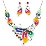 YAZILIND bunte Kristall Phoenix Blatt Tibet Silber Chunky Bib Ohrringe Halskette Schmuck für Frauen-Geschenk