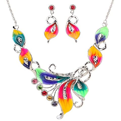 Yazilind Colorful Crystal Phoenix Leaf Tibetan Silver Chunky Bib Earrings Necklace Jewelry for Women Gift