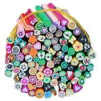 Coface 100pcs Nail Art morbida Frutta Argilla Bar canne di Fimo della decorazione con la colla del chiodo - Fimo Canne