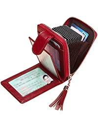 Tarjeteros para Tarjetas de Credito Mujer SAMKING Titular de la Tarjeta de Crédito Carteras de Cuero RFID Monederos con Cremallera