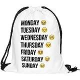 ocona© Sac de gym/ Sac de sport à cordons/ Emoji/ Jours de la Semaine/ Week/ Blanc