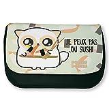 """Trousse noire de maquillage ou d'école Pouny Pouny """"Je peux pas j'ai sushi"""" pastel, chibi et kawaii- Fabriqué en France - Licence officielle Pouny Pouny - Chamalow shop..."""