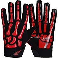 Prostyle Skeleton, Ligeramente Acolchados American Football RB, LB Guantes, Color Rojo, Tamaño Extra-Large