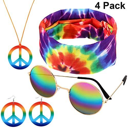 4 Stücke Zubehör Hippie Kostüme Set, mit Frieden Zeichen Halskette, Sonnenbrille, Ohrringen und Stirnband für Damen und Herren