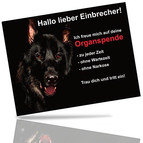 Hundewarnschild Schäferhund Lustiges Türschild 20x15 cm Schwarz Schild Hund Aluminium Spruch...