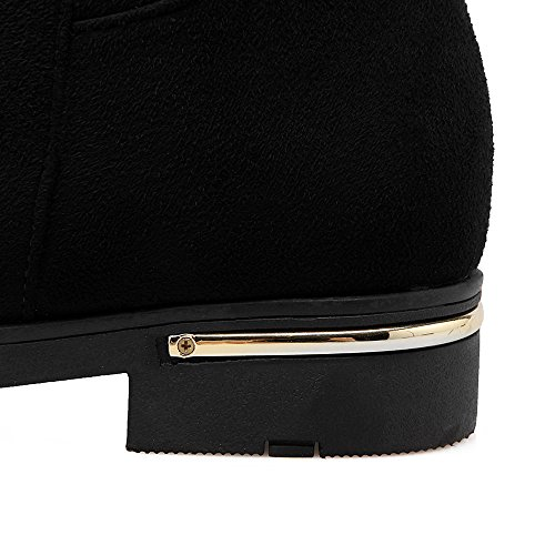 Stivali in inverno Stivali in ginocchio Nubuck in pelle lungo Barrel Plus Velvet Warm black