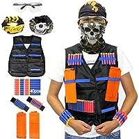 Kit de chaleco táctico Hosim para pistolas Nerf N-Strike Elite Series, con 40 piezas diferentes dardos de espuma de repuesto, 2pcs 12-Dart clips de recarga rápida, 2pcs cinturón de mano y máscara de t