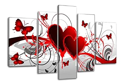 Wieco Art - Red Flower Love Butterfly 100% Hand-painted Modern Canvas Wall Art Wood Framed on the Back Wall Decor Abstract Oil Paintings on Canvas 5pcs/set - inexpensive UK light shop.