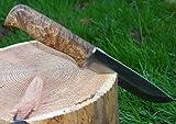 Jagdmesser, Wurzelholz-Griff mit seltene Maserung, mit Lederholster, feststehende Klinge aus Edelstahl, Scheide aus...