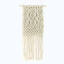 drcosy macramé de colgar en la pared con varilla de madera hecho a mano tejido tapiz boho pared decoración hogar arte
