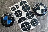 En fibre de carbone Noir BMW moitié Badge Sticker emblème Overlay Jantes capuche compatible avec toutes les BMW