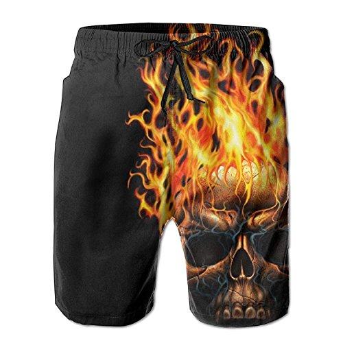 best gift Fire Skull Men Comfortable Lightweight Watershort Beach Trunks with Pockets XXL (Jumpsuit Womens Style 70s)
