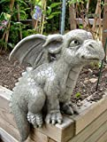 Statue de jardin dragon assis pour bordure